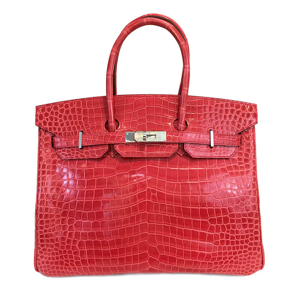 Hermes Birkin 35 Bougainvillea Crocodile Bag