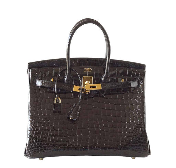 Hermes Birkin 35 Crocodile Black New Front Open