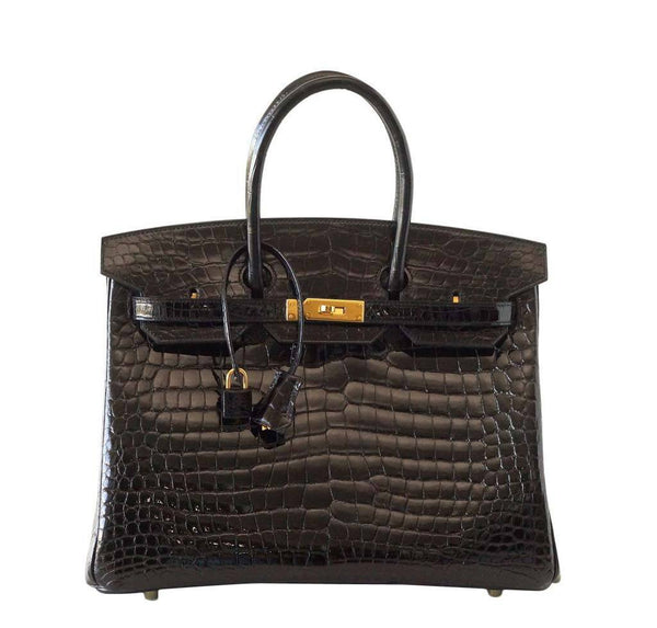 Hermes Birkin 35 Crocodile Bag Black