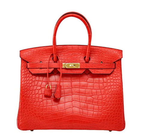 Hermes Birkin 35 Geranium Alligator Bag