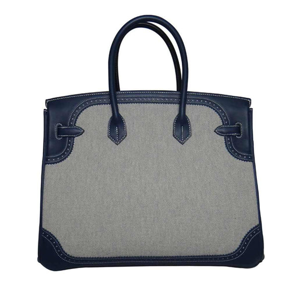Hermes Birkin 35 Ghillies Blue de Prusee New Back