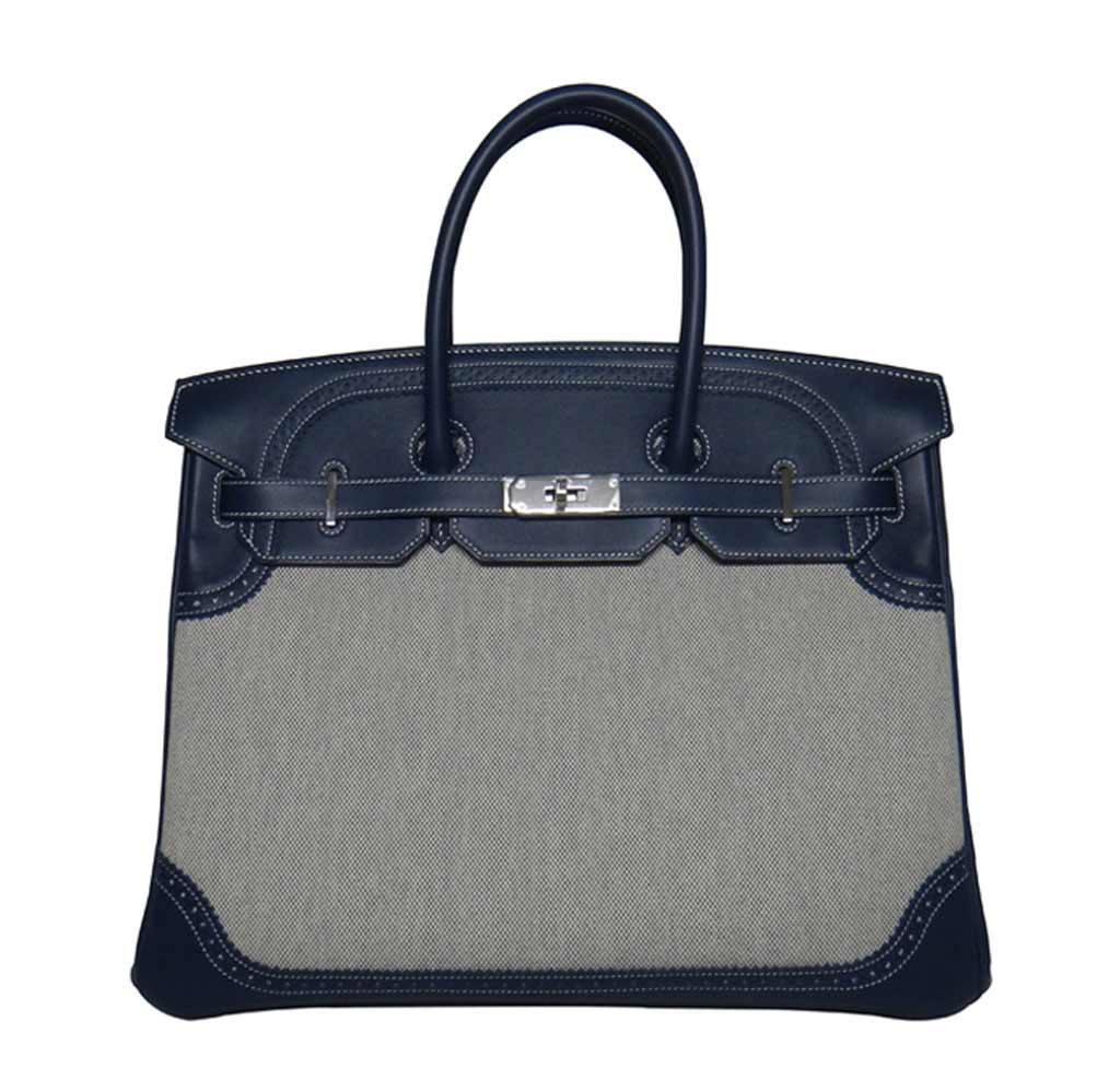 649a16e6f648 Hermes Birkin Ghillies Bag Blue Toile