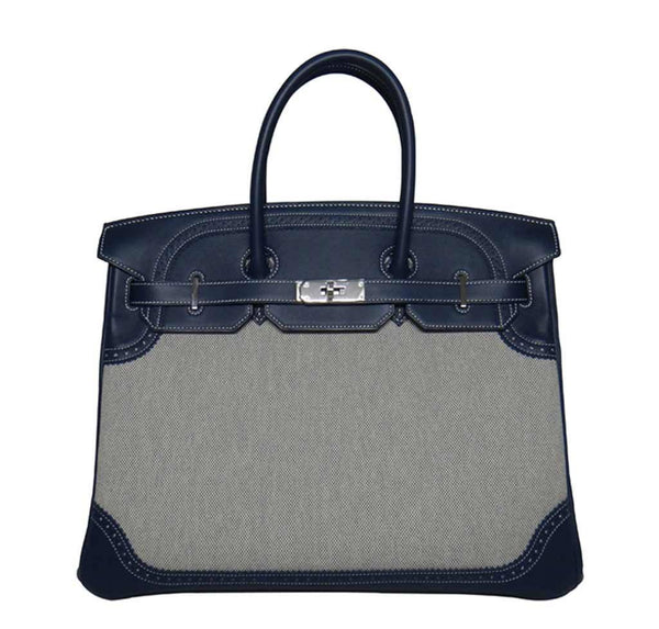 Hermes Birkin Ghillies Bag Blue Toile