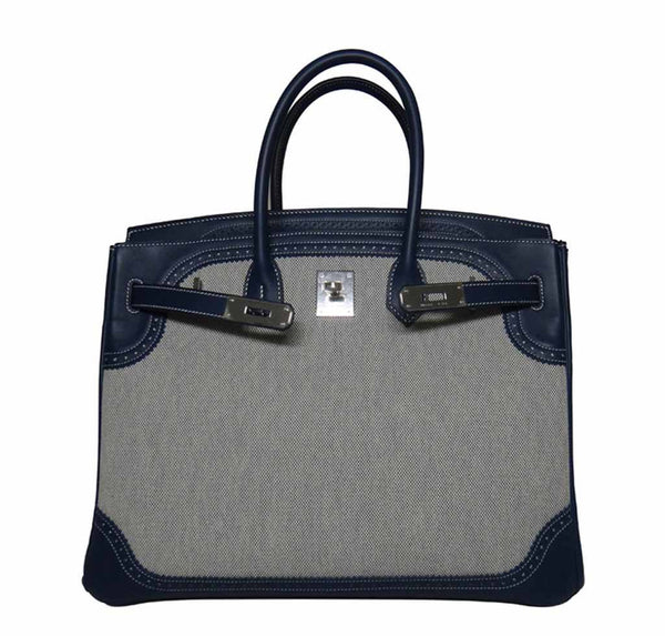 Hermes Birkin 35 Ghillies Blue de Prusee New Open