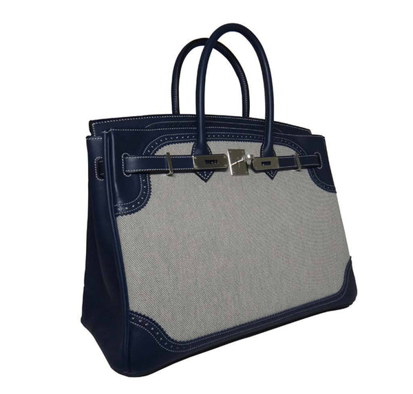 Hermes Birkin 35 Ghillies Blue de Prusee New Side