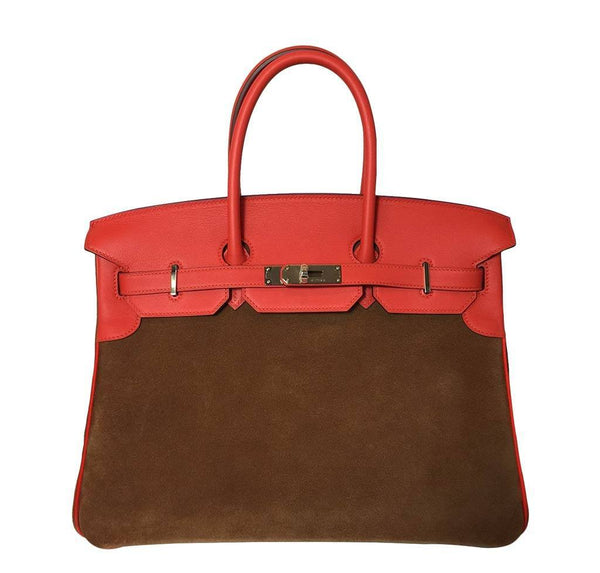 Hermes Birkin 35 Grizzly Bag Suede
