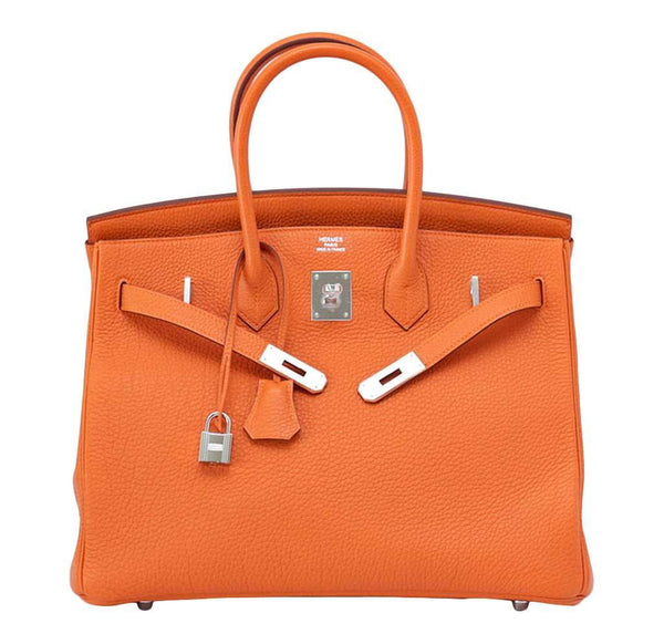 Hermes Birkin 35 H Orange New Front Open