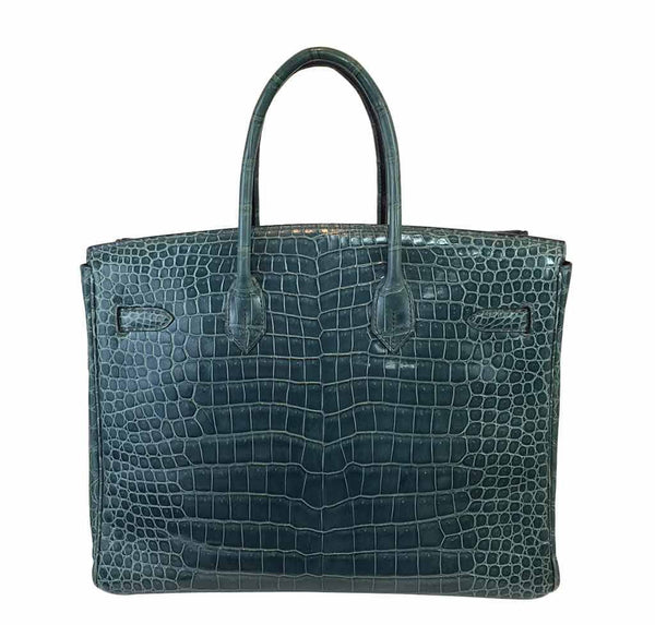 Hermes Birkin 35 Malachite Crocodile Used Back