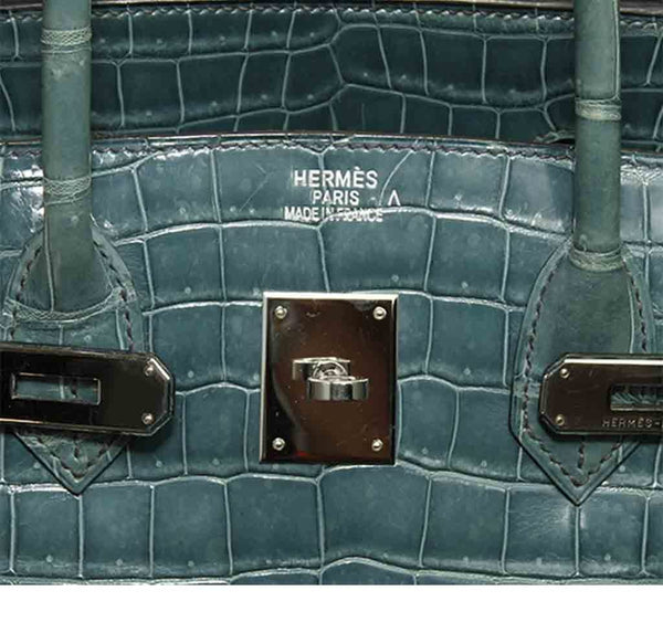 Hermes Birkin 35 Malachite Crocodile Used Embossing
