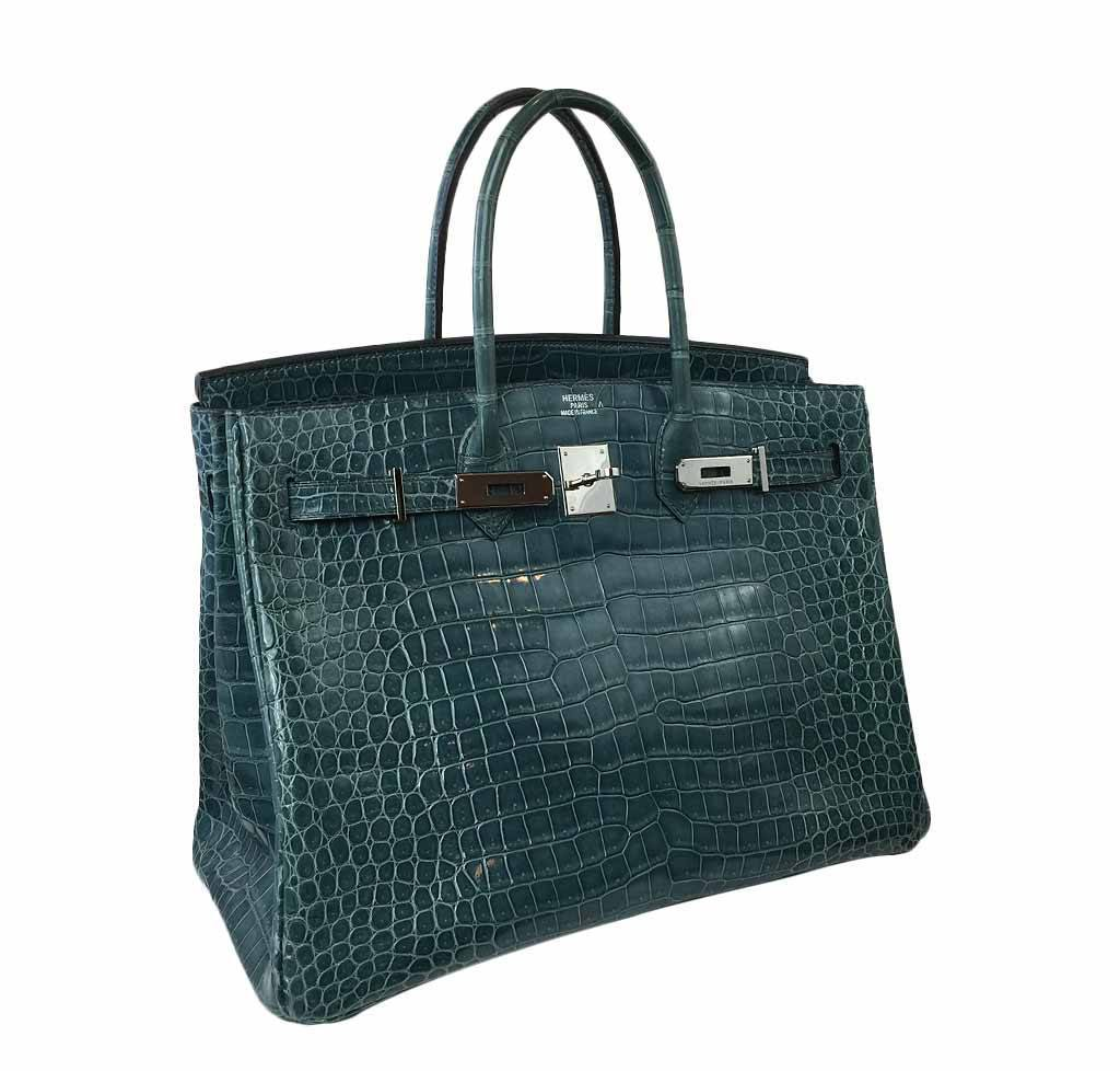 3f6fb47d423f4 ... Hermes Birkin 35 Malachite Crocodile Used Side ...