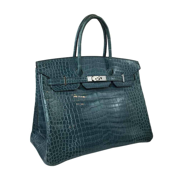 Hermes Birkin 35 Malachite Crocodile Used Side