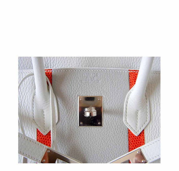 Hermes Birkin 35 White Club Lizard New Detail