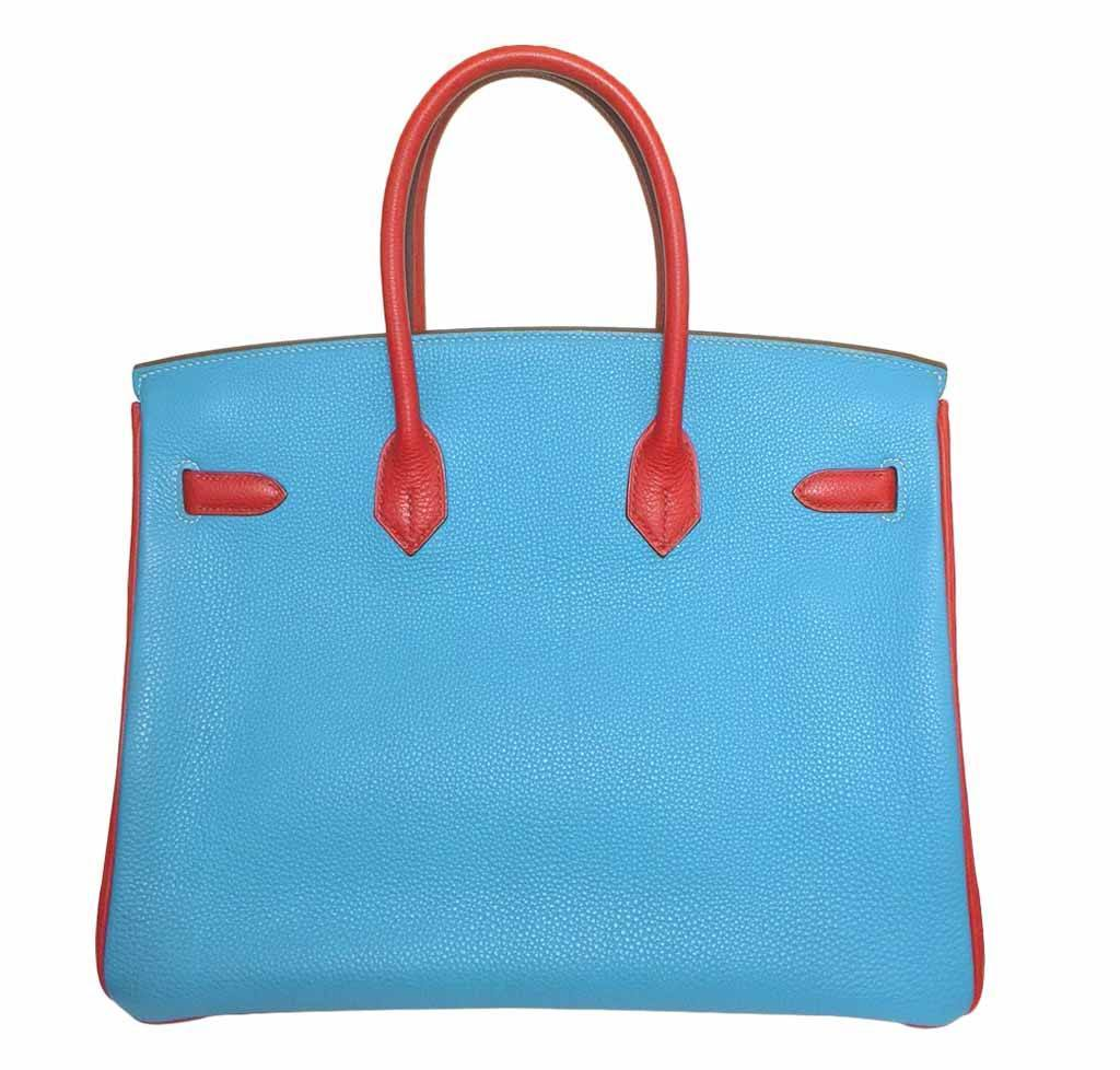 fd7537727073 ... Hermes Birkin 35 special order blue red green preloved back grande ...