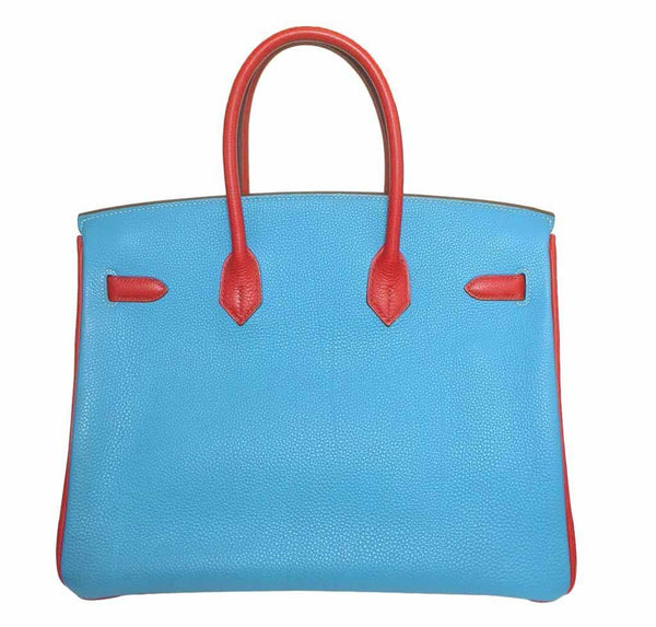 Hermes Birkin 35 special order blue red green preloved back grande