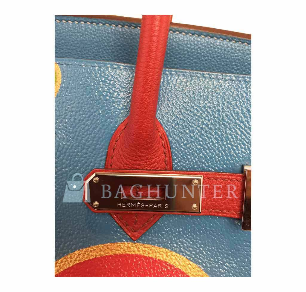 ba3fe753c3fc ... Hermes Birkin 35 special order blue red green preloved engraving ...