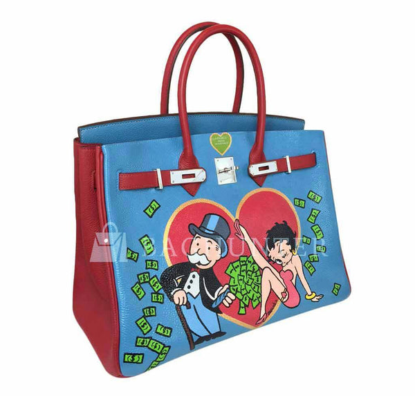 Hermes Birkin 35 special order blue red green preloved open side