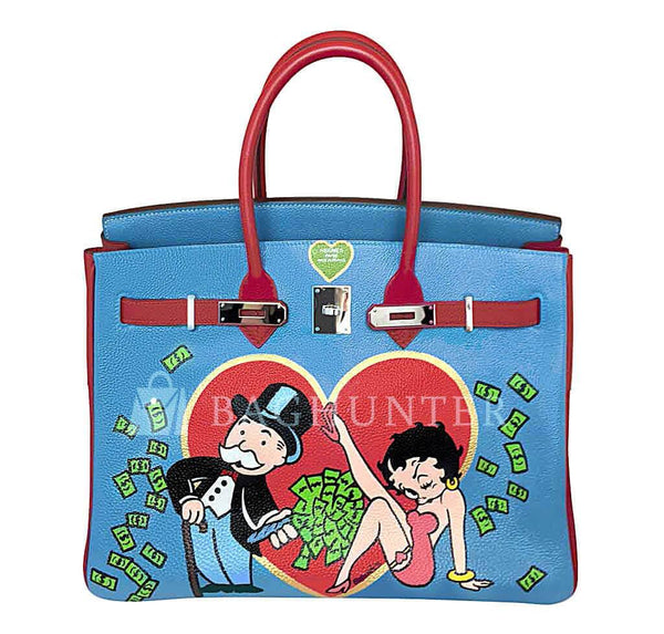 Hermes Birkin 35 special order blue red green preloved open