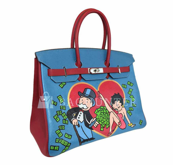 Hermes Birkin 35 special order blue red green preloved side