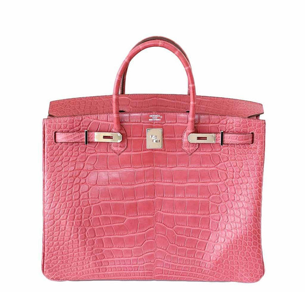 Hermes Birkin 40 Alligator Boise De Rose New Front Open