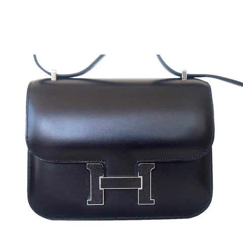 Hermes Constance Black Lizard Buckle Bag