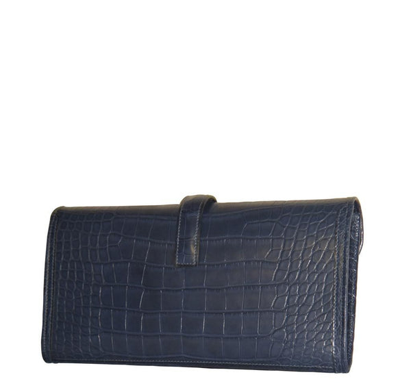 Hermes Jige Alligator Blue Indigo New Back Side