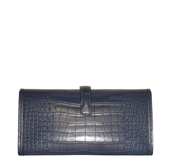 Hermes Jige Alligator Blue Indigo New Back