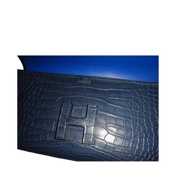 Hermes Jige Alligator Blue Indigo New Detail