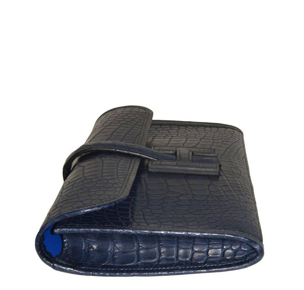 Hermes Jige Alligator Blue Indigo New Flat