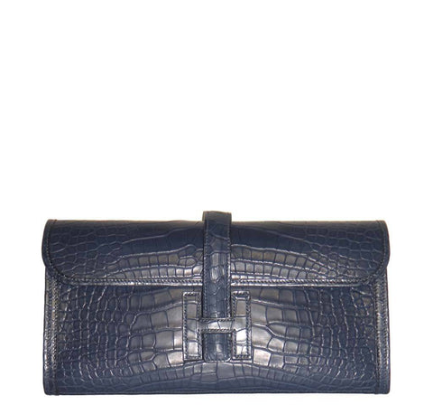 Hermes Jige Clutch Bag Blue Alligator