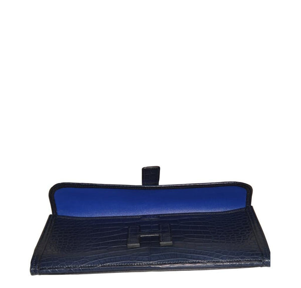 Hermes Jige Alligator Blue Indigo New Open