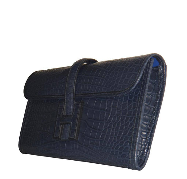 Hermes Jige Alligator Blue Indigo New Side
