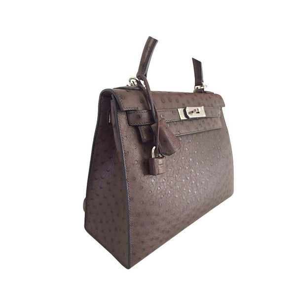 Hermes Kelly 28 Sellier Ostrich New Side
