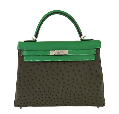 Hermes Kelly 32 Tri-Color Ostrich Bag