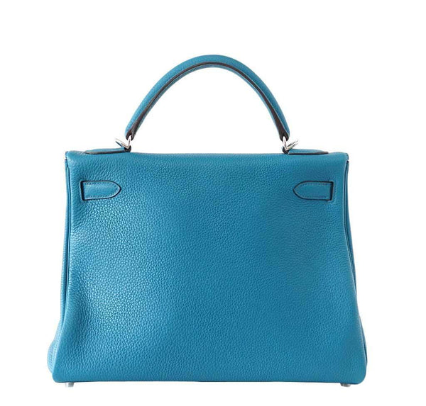 Hermes Kelly 32 Blue Izmir Used Back