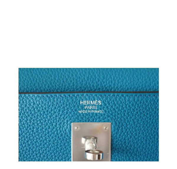 Hermes Kelly 32 Blue Izmir Used Embossing