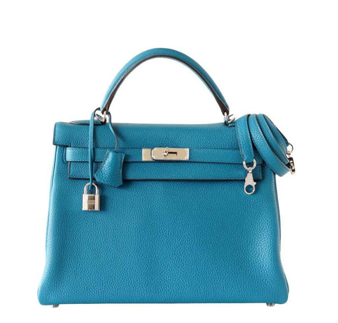Hermes Kelly 32 Blue Izmir Bag
