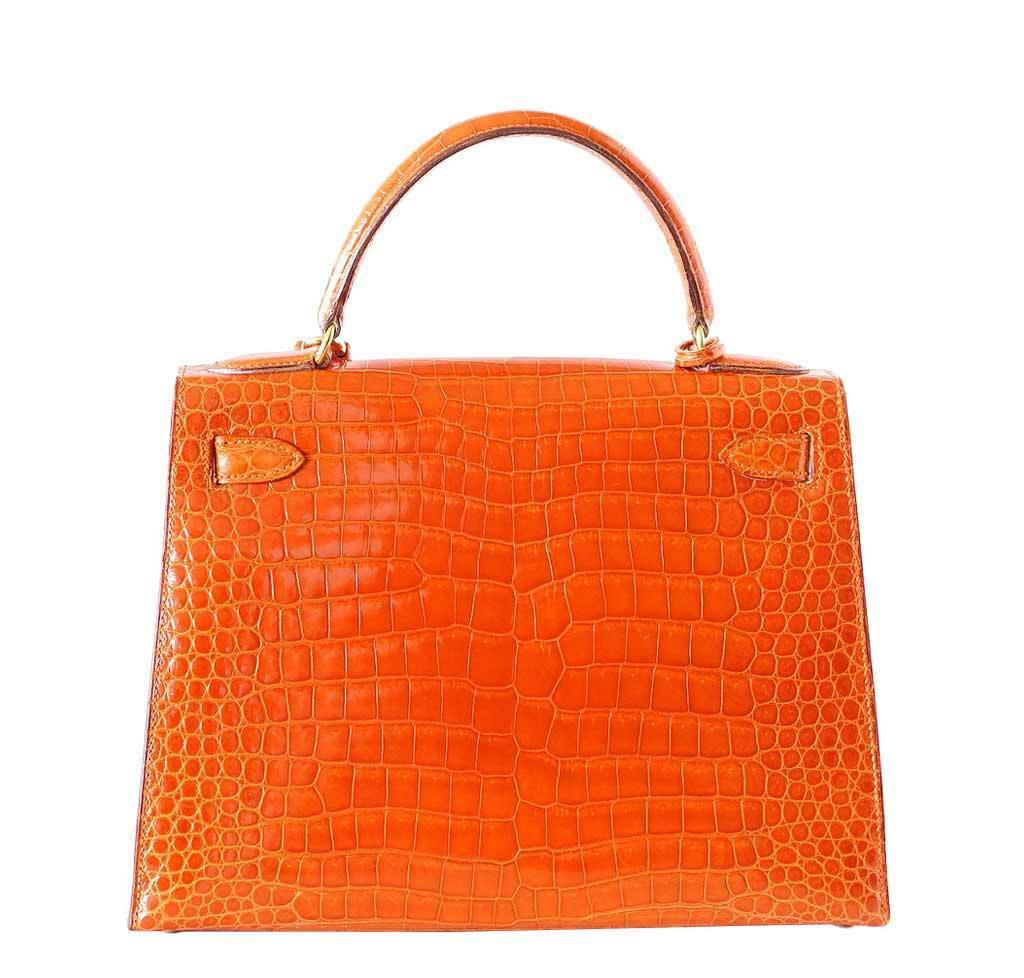 hermes birkin tan - Hermes Kelly 32 Orange Crocodile Bag | Baghunter
