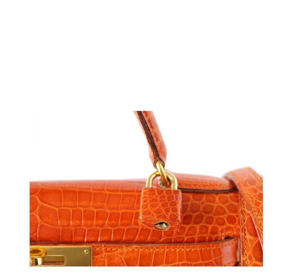 Hermes Kelly 32 Crocodile Used Detail