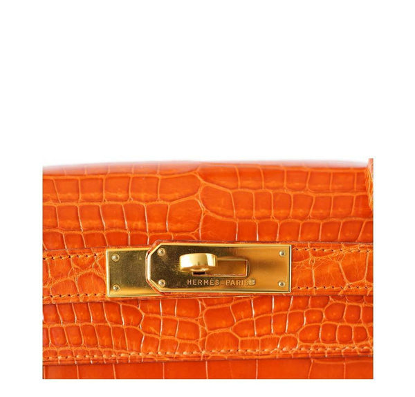 Hermes Kelly 32 Crocodile Used Engraving