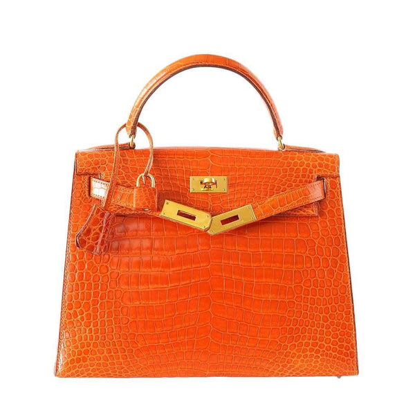 Hermes Kelly 32 Crocodile Used Open