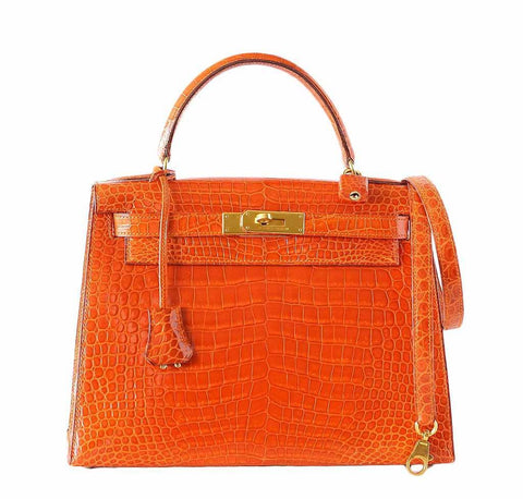 Hermes Kelly 32 Orange Crocodile Bag