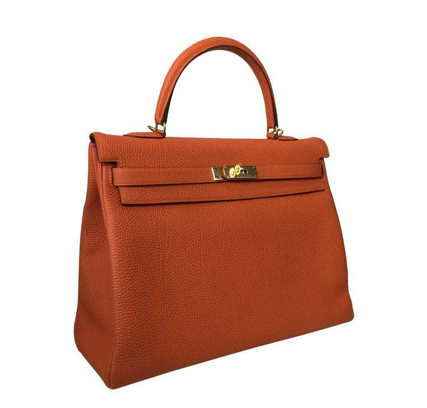 Hermes Kelly 35 Orange New Side