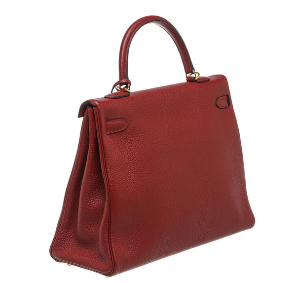 Hermes Kelly 35 Rouge H Used Back