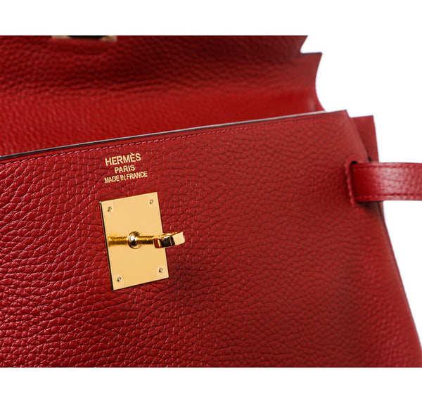 Hermes Kelly 35 Rouge H Used Engraving