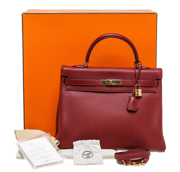 Hermes Kelly 35 Rouge H Used Set