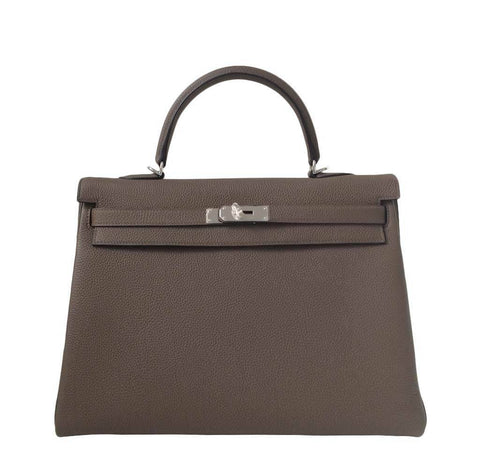 Hermes Kelly 35 Taupe Bag PHW
