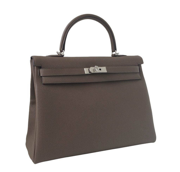 Hermes Kelly 35 Taupe New Side
