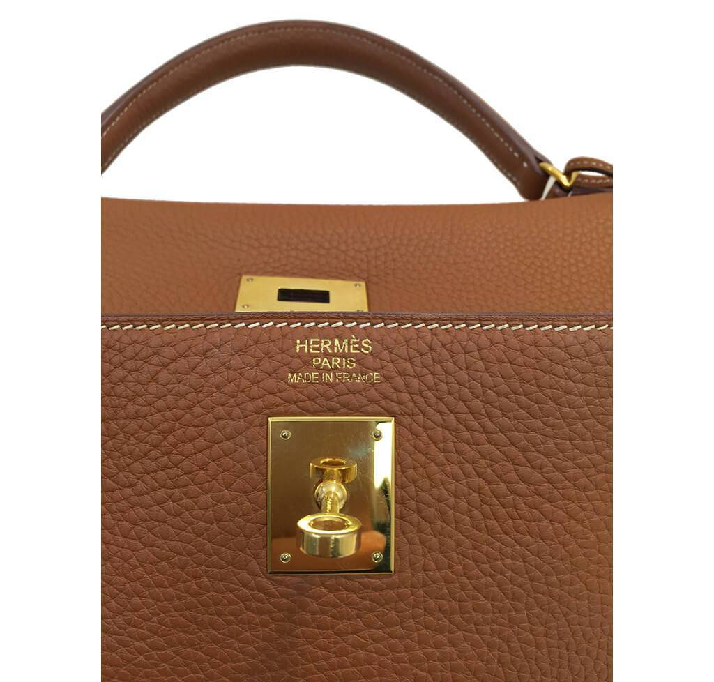 ad34093992 ... italy hermes kelly 40 gold used embossing d4b1c 7f003