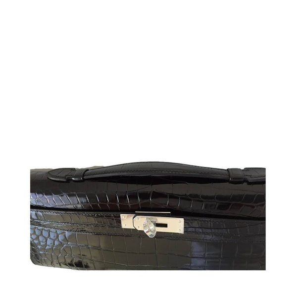 Hermes Kelly Cut Crocodile Black New detail