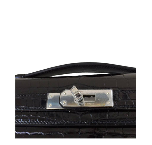 Hermes Kelly Cut Crocodile Black New engraving